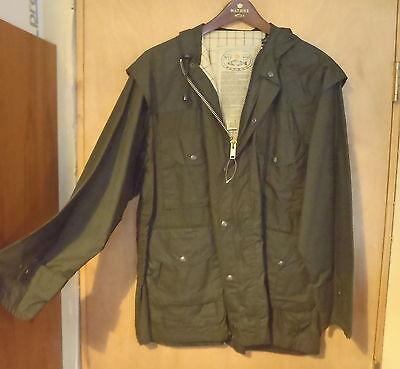 VINTAGE WAXED COTTON/OILSKIN WATHNE  WOOL  LINED JACKET  NEW NOS Size S Unisex
