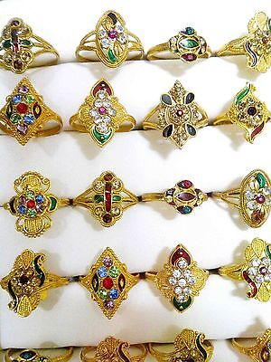 Wholesale Lots of Colorful Indian Pakistani 24k GoldPlated Brass Rings 16-19mm