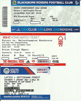 3 x NOTTINGHAM FOREST used ticket stubs 2015 2016 2017