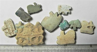 Zurqieh -Af1367- Ancient Egypt , 10 Faience Eye Of Horus Amulets. 600 - 300 B.c