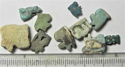 Zurqieh -Af1371- Ancient Egypt , 10 Faience  Amulets. 600 - 300 B.c