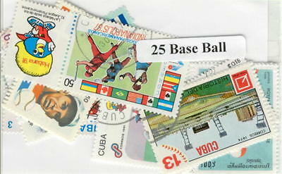 25 Baseball All Different Stamp Collection Lot