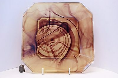 "Rare Davidson Art Deco Polished Amber 7.5"" Cloud Glass Plate - Pattern # 280"