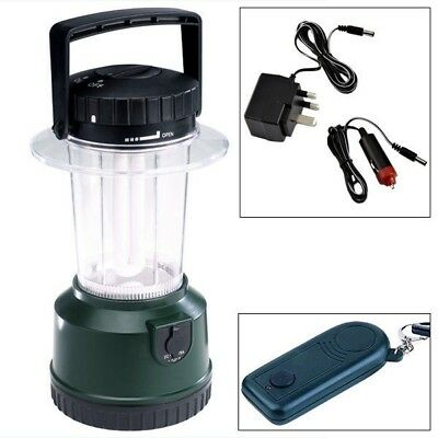 Green Rechargeable Remote Camping Lantern Tent Light + Mains / Car Charger