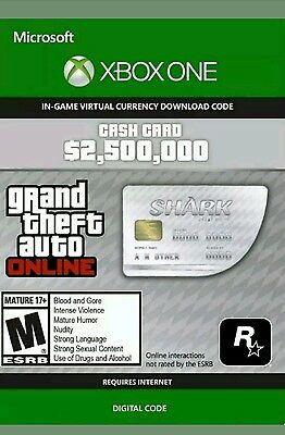 Xbox One Grand Theft Auto Online GTA 5 Shark Virtual Cash Card $2,500,000
