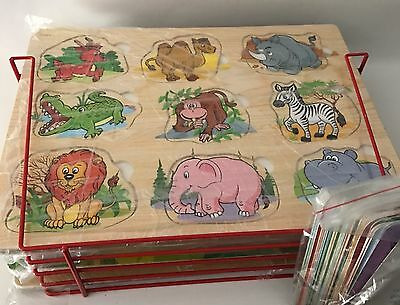 Wood Puzzles & Rack Set of 4 Educational Wood Puzzles with Wire Storage Rack