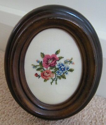 Framed Petit Point Floral Picture