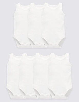 M&S Marks & Spencer 7 Sleeveless Flat Seam Bodysuits Tiny Baby BNIP!!