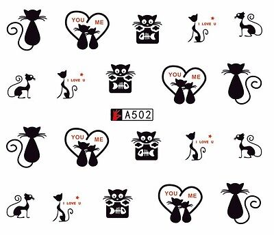 Valentines Nail Art Water Decals Stickers Love Hearts Cats Paw Prints (8502)