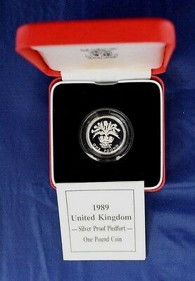 1989 Silver Piedfort Proof £1 coin in case with COA  (X9/35)