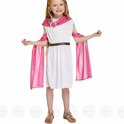 Girls Greek Goddess Roman Toga Fancy Dress Costume Girl Outfit Kids Childs