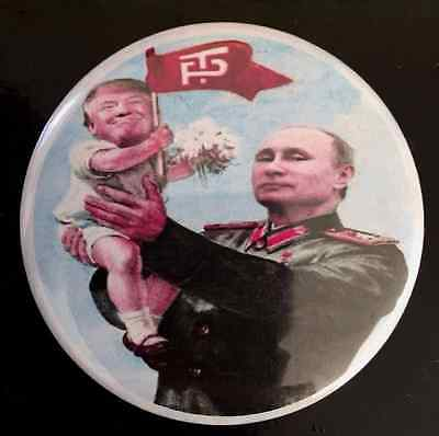 "Large 2.25"" Round Anti Trump Button Badge  ""Putin holding Baby Donald Trump"""