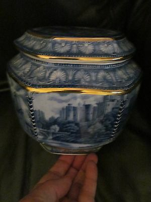 vintage ringtons millenium special ed  wade tea caddy  blue and white