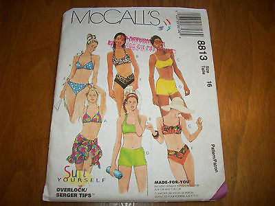 McCalls 8813 Pattern  FF Uncut 2 Pc Swim Suits Bikinis sz 16