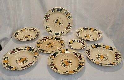 8 pcs ADAMS CHINA ENGLAND 673892  FRUIT & BERRIES TITIAN WARE Hand Painted