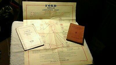3 ITEMS :THE BOOK OF THE POPULAR FORD and 8, FACTORY Instr. BOOK : LUB. CHART