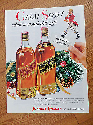 1952 Johnnie Walker Blended Scotch Whisky Whiskey Ad  Christmas Theme