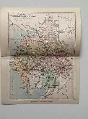 Cumberland & Westmoreland Antique County Map, 1885, Coloured, Atlas, Keswick