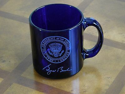 George W Bush Presidential Seal White House Gift Coffee Cup Cobalt Authentic