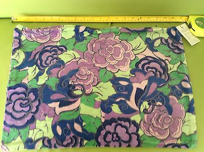 RETRO VINTAGE 70s PURPLE GREEN FLORAL VELVETEEN COTTON CUSHION COVER BNWT new