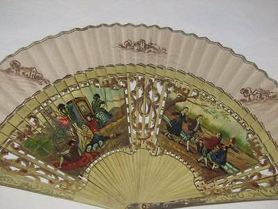 Ladies Antique Hand Fan Painted Signed Spanish?