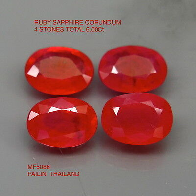 RUBY CORUNDUM NATURAL MINED [TREATED] x 4 TOTAL 6.00Ct  MF5086