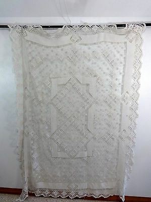 "Antique Cotton Crocheted Lace Tablecloth Size 58"" X 78"""