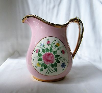 Lovely Antique Vintage Porcelain Pitcher Pink Rose Floral Gold Trim Shabby Chic