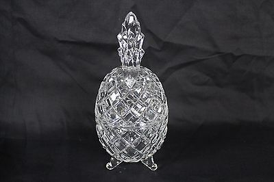 Vintage Crystal Pineapple Trinket Box Candy Dish Cut Glass Pedestal Rare Old