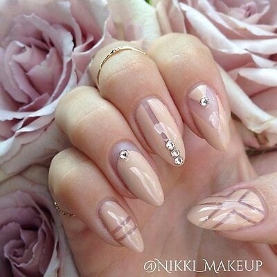 Nude negative space stiletto nails, fake nails, hand painted nails,press on