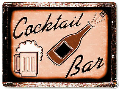 COCKTAIL BEER METAL sign vintage style bar tavern /  gift mancave wall decor 284