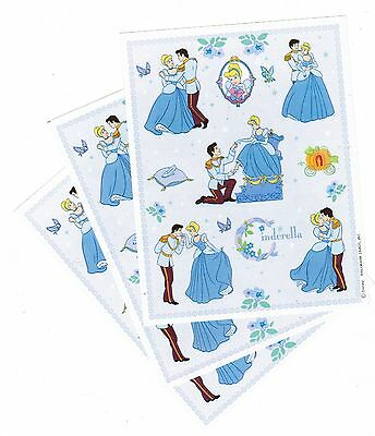 3 Sheets Disney Cinderella Princess Glass Slipper Prince Scrapbook Stickers!