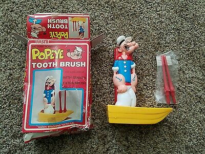 Vintage Popeye Battery Toothbrush & Holder In Original Box!