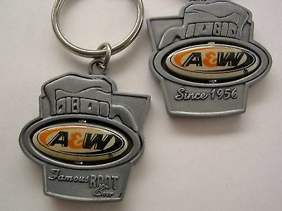 A&W Root Beer ~ Pewter Spinner Keychain key ring