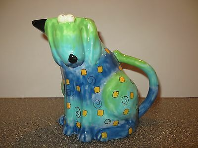 Studio Designworks Whimsical Dog Pitcher Jug Hand Painted in Blues & Greens