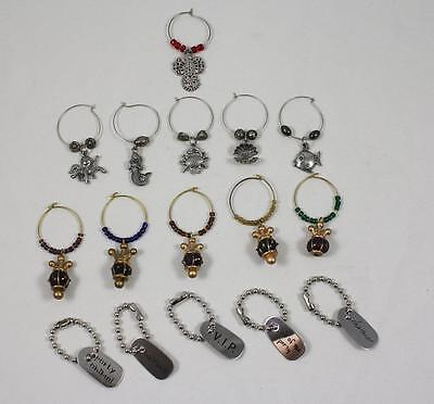 Mixed Lot 16 Wine Glass Charms Sea Creatures Dog Tags Angel Crowns