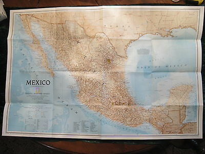 "Vintage Travelers Map of Mexico 30"" x 20""  National Geographic Society 1994"