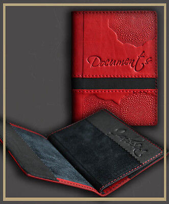 Red Genuine LEATHER Auto Documents  Passport COVER Drivers Licence HANDMADE 13
