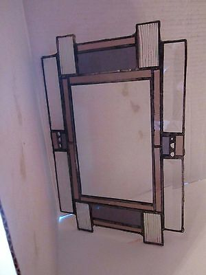 """Mission style stained glass mirror wall hanging. 7"""" x 11"""". pink purple. beveled."""