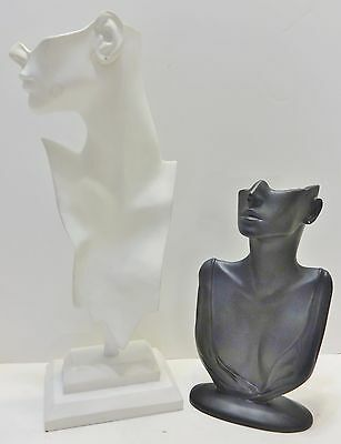 """2 Necklace & Earring Display Heads Black 12""""  & White 20"""""""