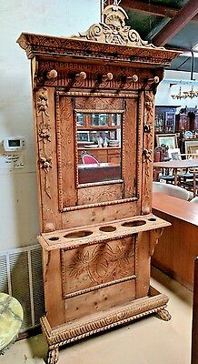 Antique Italian Light Oak Carved Hall Tree w Mirror for Umbrellas Paw Feet H 89""