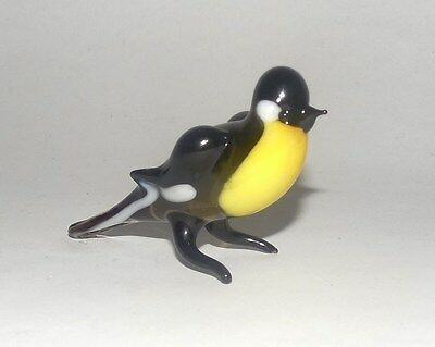 Glass Finch Bird Figurine Hand/Mouth-Blown made Russian Murano yellow belly brow
