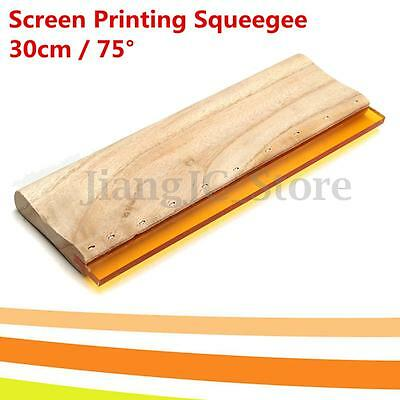 30cm 12'' Silk Screen Printing Squeegee 75 Durometer Wooden Handle Rubber Blade