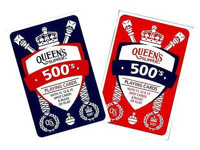 Queen's Slipper 500's Playing Cards Casino Quality Deck w/points Game Rules RED