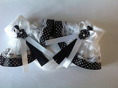 Black pin spot baby/girls frilly socks various sizes