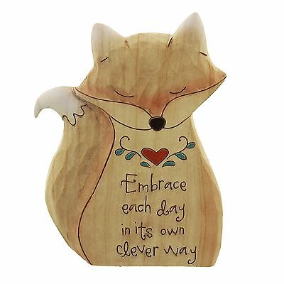 'Embrace the day in its own clever way' Fox Shaped Figurine