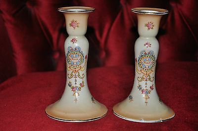 "Pair of Crown Devon Candlesticks in ""Erin"" Pattern"