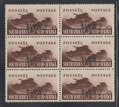 South West Africa SG 122 Scott 142 VF MNH 1941 1/- Brown Tank Corps Block of 6