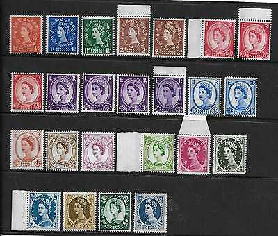 GREAT BRITAIN  SG 610/18a  1960/67 PHOSPHOR SET OF 24  LISTED VARIETIES   MINT