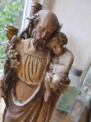 Beautifully Serene  Antique French Time Worn Plaster  Statue / Figure  C. 1900 ~